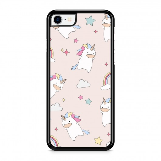 Coque iPhone 7 Licorne & Rainbow Rose