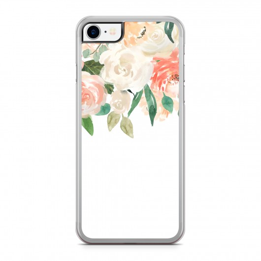 Coque iPhone 7/8 Fleurs Romantic Rose Rigide Transparente vue de dos