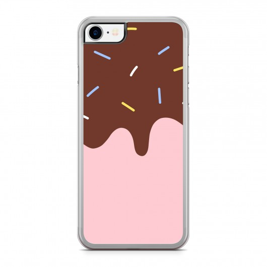 Coque iPhone 7/8 Flat Ice Cream Rose Rigide Transparente vue de dos