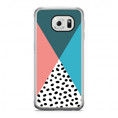 Coque iPhone 5/5s/SE Geometric Dots Vert Rose Rigide Transparente vue de dos