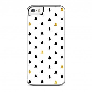 Coque iPhone 5/5s/SE Winter Little Trees Doré Noir Rigide Transparente vue de dos