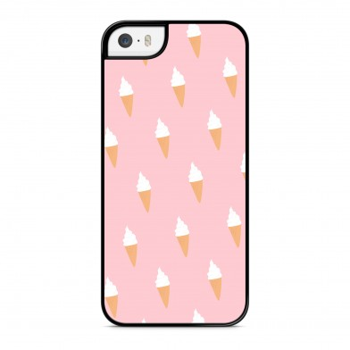 Coque iPhone 5/5s/SE Little Ice Cream Rose Rigide Noire vue de dos