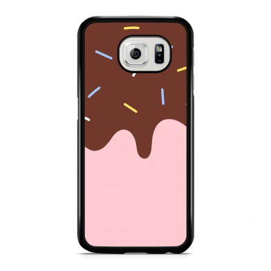 Coque iPhone 5/5s/SE Flat Ice Cream Rose Rigide Noire vue de dos