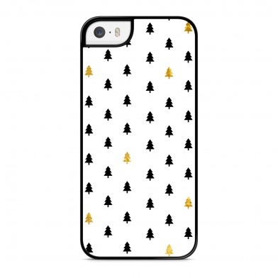 Coque iPhone 5/5s/SE Winter Little Trees Doré Noir Rigide Noire vue de dos