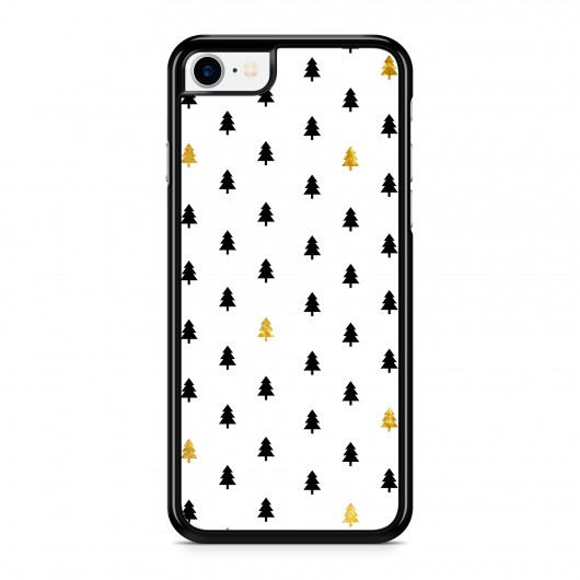 Coque iPhone 7/8 Winter Little Trees Doré Noir Rigide Noire vue de dos