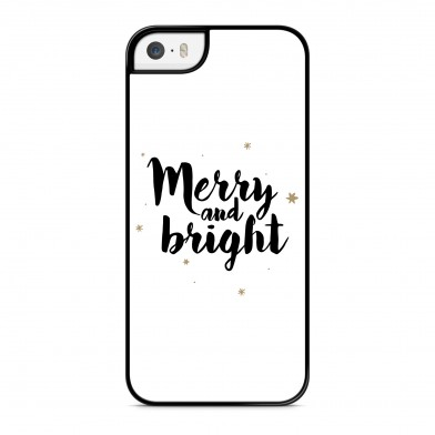 Coque iPhone 5/5s/SE Merry and Bright Noir Rigide Noire vue de dos