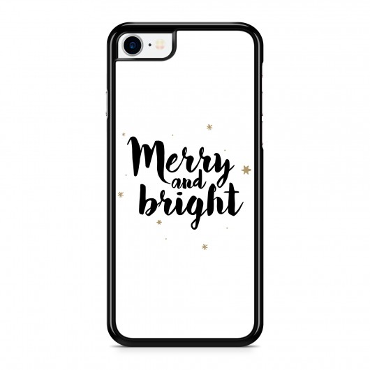 Coque iPhone 7/8 Merry and Bright Noir Rigide Noire vue de dos