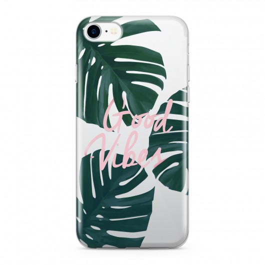 Coque Silicone Tropical Good Vibes Rose