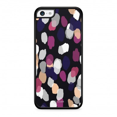 Coque iPhone 5/5S/SE Brushstroke Rose et Noir