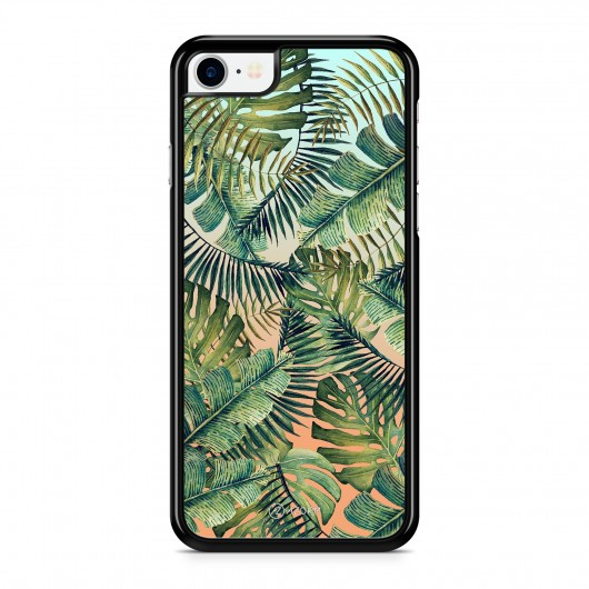 Coque iPhone 7 Tropical Forest Orange et Vert