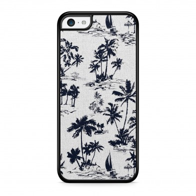 Coque iPhone 5/5S/SE Palmier Vintage California Blanc