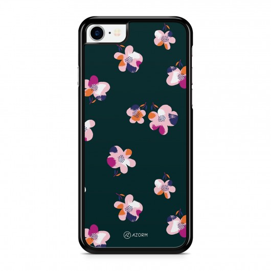Coque iPhone 7 Fleurs in the Dark Noir et Rose