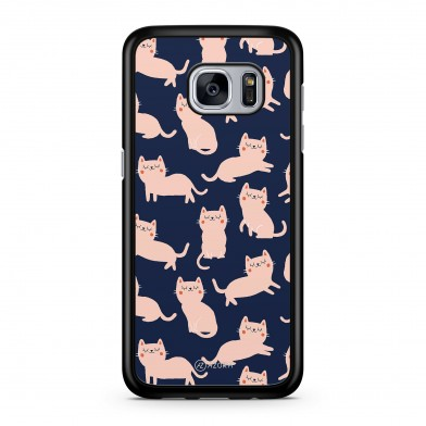 Coque iPhone 5/5S/SE Chat Relax Rose et Bleu