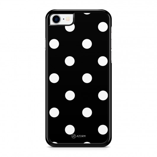 Coque iPhone 7 Pois Blanc Noir