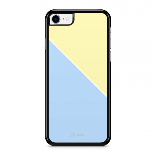 Coque iPhone 7 Graphique Bicolore Bleu Jaune