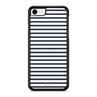 Coque iPhone 5/5S/SE Marinière Bleu Marine Blanc