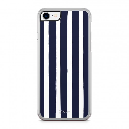 Coque iPhone 7 Rayure Vertical Bleu Blanc