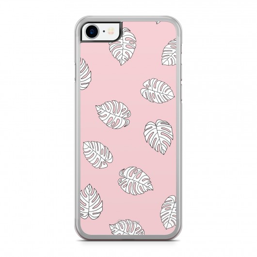 Coque iPhone 7 Palmier Tropical Blanc Rose