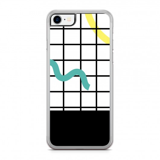 Coque iPhone 7 Graphique Painted Grid Jaune Vert